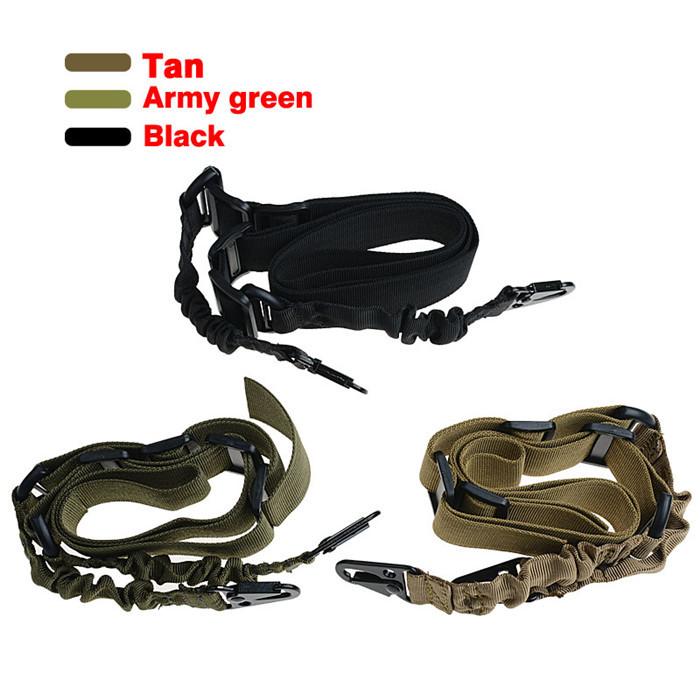 1pc Military Black Green Tan Gun Sling 2 Points Gun Rifle Pistol Sling Tactical Airsoft Belt