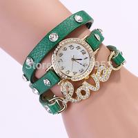 2014 New Ladies chain  leather strap quartz watch women Rhinestone dress watches luxury Valentine's Day Gift love Accessories