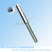 M6 R  5mm wire, T02-0506-01,Swage stud thread terminal,  stainless steel 316,  wire rope swage terminal. rigging hardware