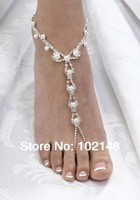 sexy rhinestone barefoot sandals, foot bracelet,beach foot jewelry with pearl, cross beads anklets for women 2014 summer