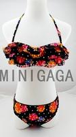 2014 Free Shipping fashion bikini swimwear women flower push up cheap sexy floral swimsuits women