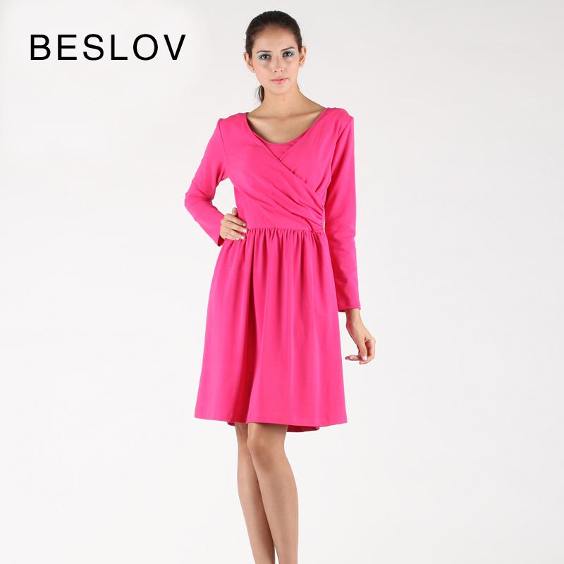 2015 Hot Plus Size Cotton Maternity Wear Summer One-piece Nursing Dress Elegant Knee-length Pregnancy Dresses(China (Mainland))