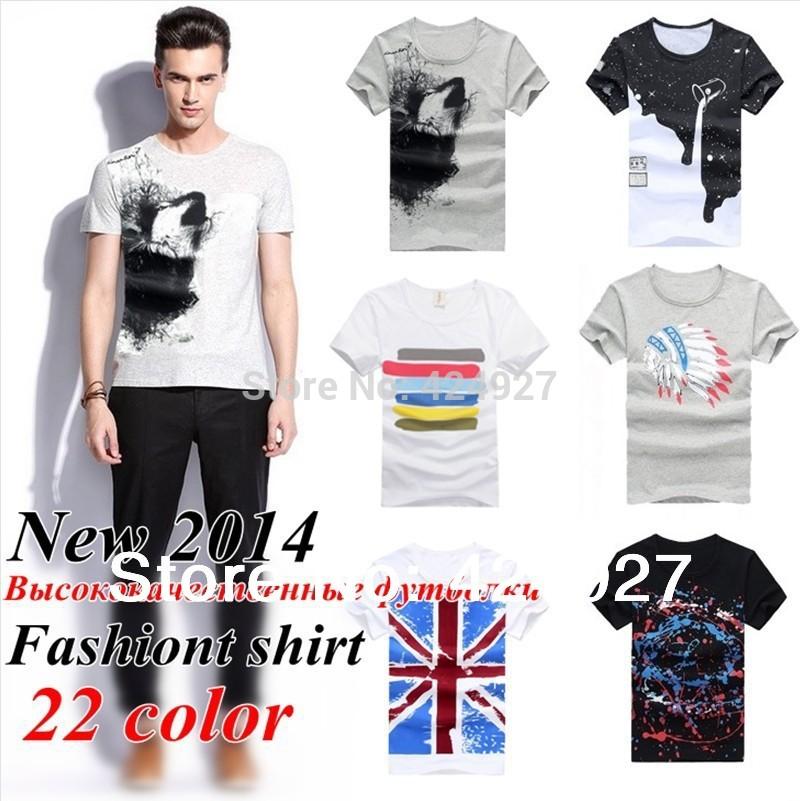 Free shipping Fashion brand Men T-Shirts 2014 best quality men's t shirts, Pure cotton T shirts, Quick dry t shirt 21 color(China (Mainland))