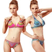Women's Lady Sexy Swimsuit Erogrnous Bikini Sets Beachwear Swimwear Paisley Padded Triangle Top With Banded Low-rise Bottom