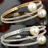 ZH0806 New Arrive Good quality 2014 Rhinestone pearl bracelets & bangles Unique Jewelry Multilayer fashion women jewelry