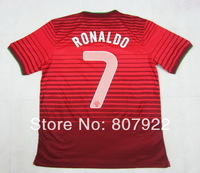 New 2014!!! Ronaldo #7 Portugal Home Red Soccer Shirt,Player Version Thailand Quality Portugal Red Soccer Jersey+Free Shipping