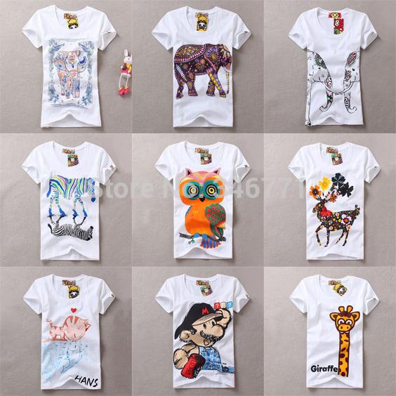 2014 new real cotton cute Harajuku T shirt women vintage 3D elephant cat owl tiger bird zebra deer Giraffe printed tshirts tops(China (Mainland))