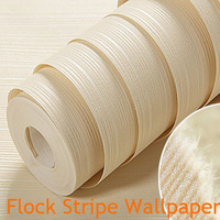Stripe Wallpaper Roll Solid Modern Flock Vertical Background Living Room Home Decor White Coffee Wall paper papel de parede