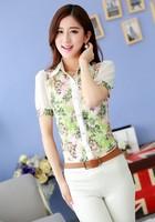 New 2014 women summer blouse Chiffon render blouse short-sleeve printed flower OL fashion lace blouse plus size 2 color S-3XL