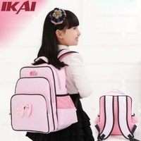 SB048-1 Kids PU School Bags Large Capacity Cartoon Backpacks Striped Satchel Fashion Shoulder Bags Girls Backpacks Pink