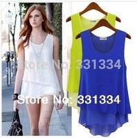 2014 spring dress ,summer and autumn dress, women dress Sexy Deep Stitching Back Hollow Chiffon Vest Dress Sleeveless t-shirt#17