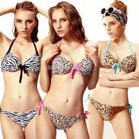Women's Bikinis Set Swimwear Leopard Print Swimsuit  Plunge Padded Push Up Underwire Top Side-Tie Bottom Bikins set