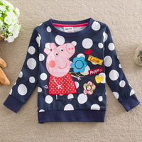 Retail!FREE SHIPPING F4290# Nova 18m/6y kids wear clothing embroidery peppa pig 2013 new long sleeve T-shirts for baby girls