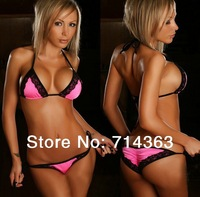 Free Shipping  2014 New Sexy Swimwear & Swimsuit With Lace Beach Dress Hot beachwear Bikinis Set(Lingerie Bra + T-back Sets)