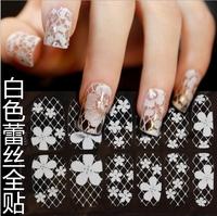 Free Shipping 2 Pieces/ lot Nail Wraps Nail Art Foil Sticker White Lace Nail Sticker NA0303