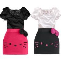 Hu sunshine Retail 2014 new summer girls lace short Lacework t-shirt+skirt clothing set kids Hello kitty clothes sets 2pcs suits