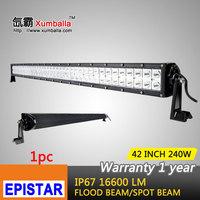 42 inch 240w epistar led light bar 12v flood spot combo beam led work light bar driving lights for offroad 4x4 truck boat ATV