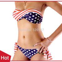 1pc New 2014 Women Bandage Swimsuit Sexy Bikini Set  Women American flag Bikinis Beach Swim Suit -- WBK30 Wholesale