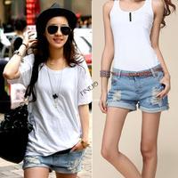 2014 New Retro Women High Waist Ripped Flange jeans Girls Hole Wash White Jeans Denim Shorts free shipping SV000480 K#