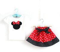 Retail 1set summer 2014 Baby girls minnie clothing sets 2pcs short sleeves  t shirt+pant / skirt polka dots suits ST036