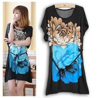 14Color L-4XL Big Size Casual Sexy Women Floral Print Dress Slim Lady Girl Flower Dress 3XL XXXL XXXXL Plus 2014 Fashion Summer