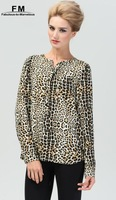 Leopard Blouse New 2014 Women Blusas European Style Long Roll Up Sleeves Animal Print Blusa Manga Longa Feminina XXXL SS14B018