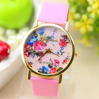 New Fashion Flower Watch  Leather Strap GENEVA Watch For  Women Dress Watch Quartz Watches 1pcs/lot