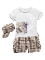 Baby Clothing Set Baby Boys Set Short Sleeve T-shirt+Shorts+Hat  3Pcs Sets Kids Handsome Clothes Infant Outfits Free Shipping