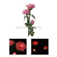 Pink Flower Solar Power 3 Rose Flower Light Ni-mh Led Bulbs Garden Yard Lawn Decoration Lamp