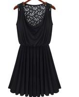 2014 Women's Sexy MINI Dress 2014 Black Sleeveless Back Hollow Lace Vest Tank Dress Elastic Pleated Dress S~L