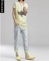 2014 new women jeans spring light blue woman jeans plus size hole jeans skinny pants harem pants jeans women v217 free shipping