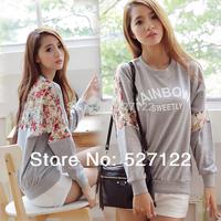 2014 New Autumn Women's Cotton Shirt  Loose Letter Lace Stitching 3 D Flower Round Neck Leisure Sweatshirt Long sleeved Hoodies