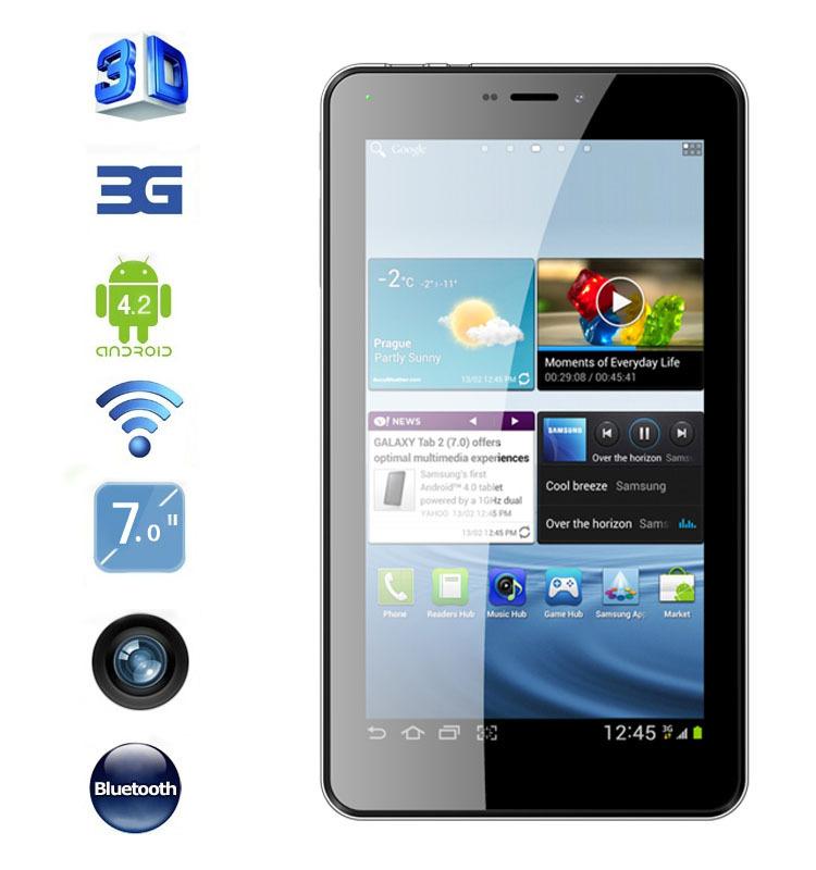 7 3g pouces téléphone mobile appel mtk6527 4.2 dual core android tablet pc 512 ram 4go bluetooth gps dual sim slot wcdma. tbalets pcs