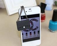 Free Ship! Black fashion luxury women handbag silicone shoulder bag dust plug key chain charms cell phone jewelry accessories