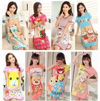 New 2014 Sweet Cartoon Print Night Dress For Sleep Cotton Nightgown Pijama Women Sleepwear Summer Nightwear Free Shipping A3745