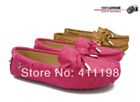 2014 new women genuine leather shoes Peas soft driving bow Loafers lady Moccasins flat shining shoes 100%leather luxury golden