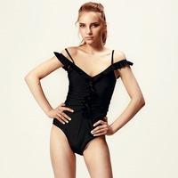 Hot One PCS Women's Swimwear Swimsuit Monokini Bathing Suit Solid Padded Triangle Top Ruffled Front Beachwear