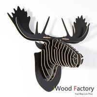 iWood  Rein Deer Wall Hangings Euro Style Home Decor Diy Wall Sculptures Black