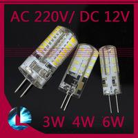 10pcs G4 3w Silica Gel Crystal Candle DC 12V AC 220V 3w 24 4w 32 leds 6W 64 LED 3014 SMD Light Bulb Replace 20W 30W halogen lamp