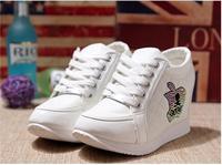 Black White Free Shipping Hidden Wedge Heels Fashion Casual Women's Elevator Shoes Sneaker Sports Shoes For Women Rhinestone B