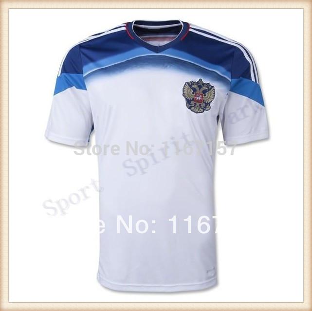 Cheap Free Shipping 2014 New Russia Away white Soccer Jerseys world cup football KERZHAKOV Semshov football shirts Sportswear(China (Mainland))