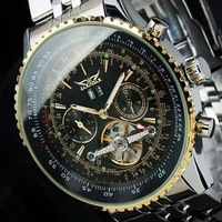 2014 New Luxury Watch Men Golden Auto Self-wind Mechanical Watch Invicta Silver Replica Watch Free Shipping