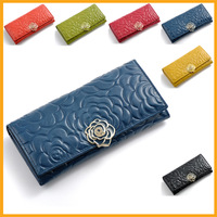 Arrival Vintage Woman Long Wallets Rose Flower Printed Wax Genuine Leather Top-grade Fashion Ladies Clutch Purse  free shipping