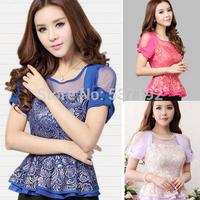 New 2014 Korean fashion Slim Embroidery lace chiffon shirt Women short-sleeved Plus size Bow flounced summer Blouse 5 Sizes