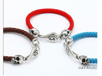 G&S Jewelry Braided Black/Red/Blue/Brown Leather Mens Bracelet 6.3 mm 8 1/2 inches,Stainless Steel Skeleton&Spade 13 G&S018SB