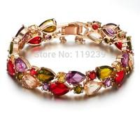 GB1 Mona Lisa Bracelets & Bangles Fashion 18K Rose Gold Plated Colorful Cubic Zirconia Items Retro Vintage Women Jewelry Bijoux