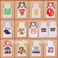 New 2014 boys baby girl clothing child 100% cotton woven vest baby summer cartoon animal t-shirt kid's t-shirts Children T-shirt