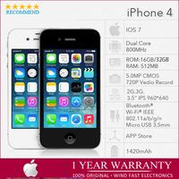 "Original iPhone 4 16GB/32GB IOS 7 3.5""IPS 960*640px 5MP 3G GSM/WCDMA GPS WIFI Apple A4 Unlocked Phone"