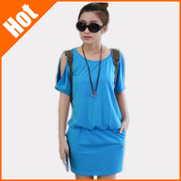 2014 loose short-sleeve basic elastic waist short women's dress one-piece dress XXL a-line dress plus size