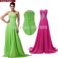 Elegant Grace Karin Green/Deep Pink Floor-Length Long Evening Dress Beaded Formal Gowns Prom Maxi Dress 2014 CL4505